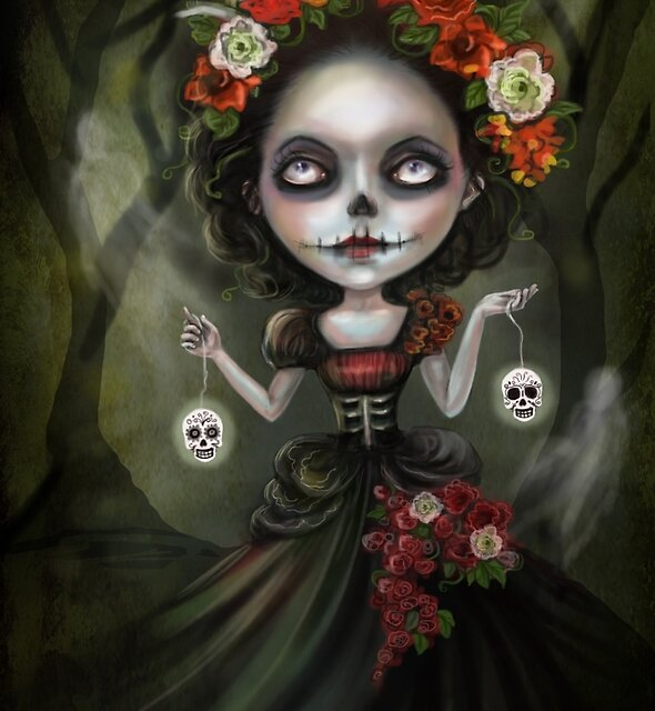 Katrina Day of the Dead Skull Girl by DianaLevinArt