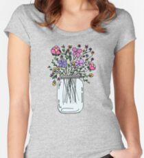 Einmachglas mit Blumen Tailliertes Rundhals-Shirt