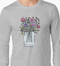 Mason Jar with Flowers Long Sleeve T-Shirt