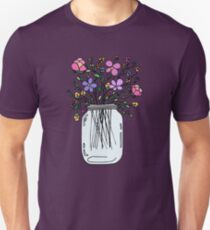 Mason Jar with Flowers Unisex T-Shirt
