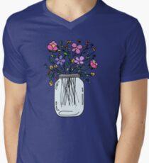 Mason Jar with Flowers Men's V-Neck T-Shirt