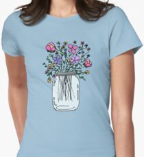 Mason Jar with Flowers Women's Fitted T-Shirt