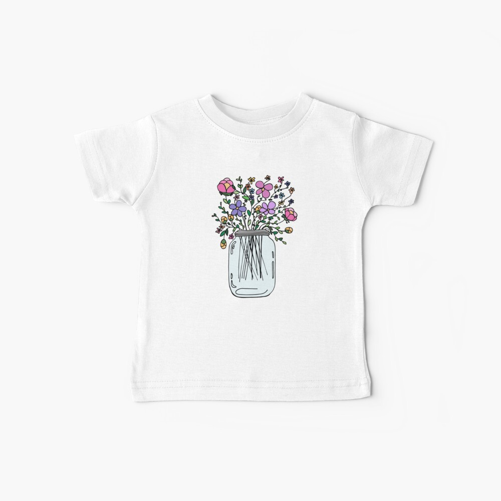 Mason Jar with Flowers Baby T-Shirt