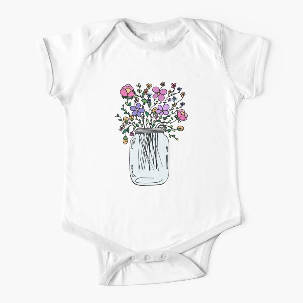 Mason Jar with Flowers Baby One-Piece