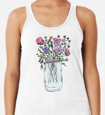Einmachglas mit Blumen Racerback Tank Top