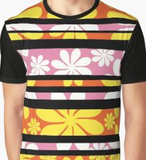 Floral stripes in pink and orange Graphic T-Shirt