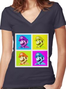 Worholian Game God Women's Fitted V-Neck T-Shirt