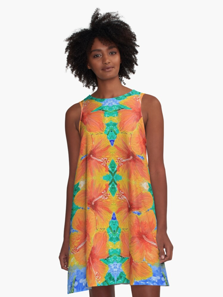 Hand-Painted Tropical Orange Hibiscus Botanical A-Line Dress Front
