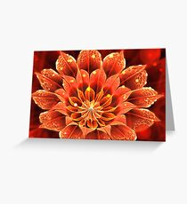 Red Dahlia Fractal Flower with Beautiful Bokeh Greeting Card