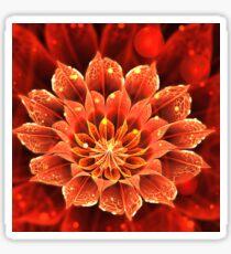 Red Dahlia Fractal Flower with Beautiful Bokeh Sticker