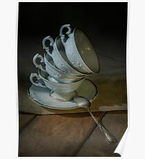 Still life with tea cups set Poster