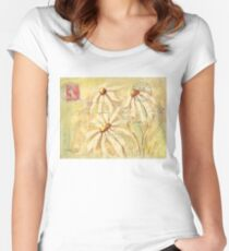 Daisies in Spring Postcard 2 Women's Fitted Scoop T-Shirt