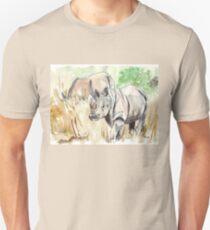 Two White Rhinos Unisex T-Shirt