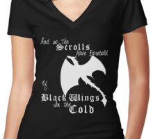 Black wings in the cold (white lettering)  Women's Fitted V-Neck T-Shirt