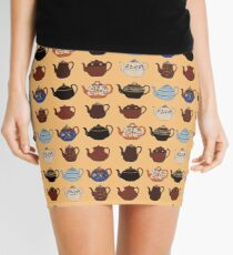 Vintage Teapot Repeating Pattern Mini Skirt