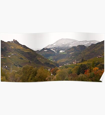 Snow line on the hills, Bolzano/Bozen, Italy (Panorama) Poster