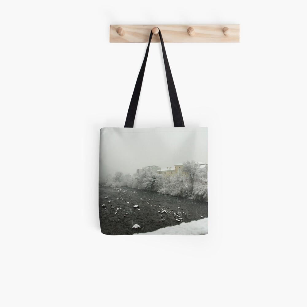 Snow storm on the Talvera River, Bolzano/Bozen, Italy Tote Bag