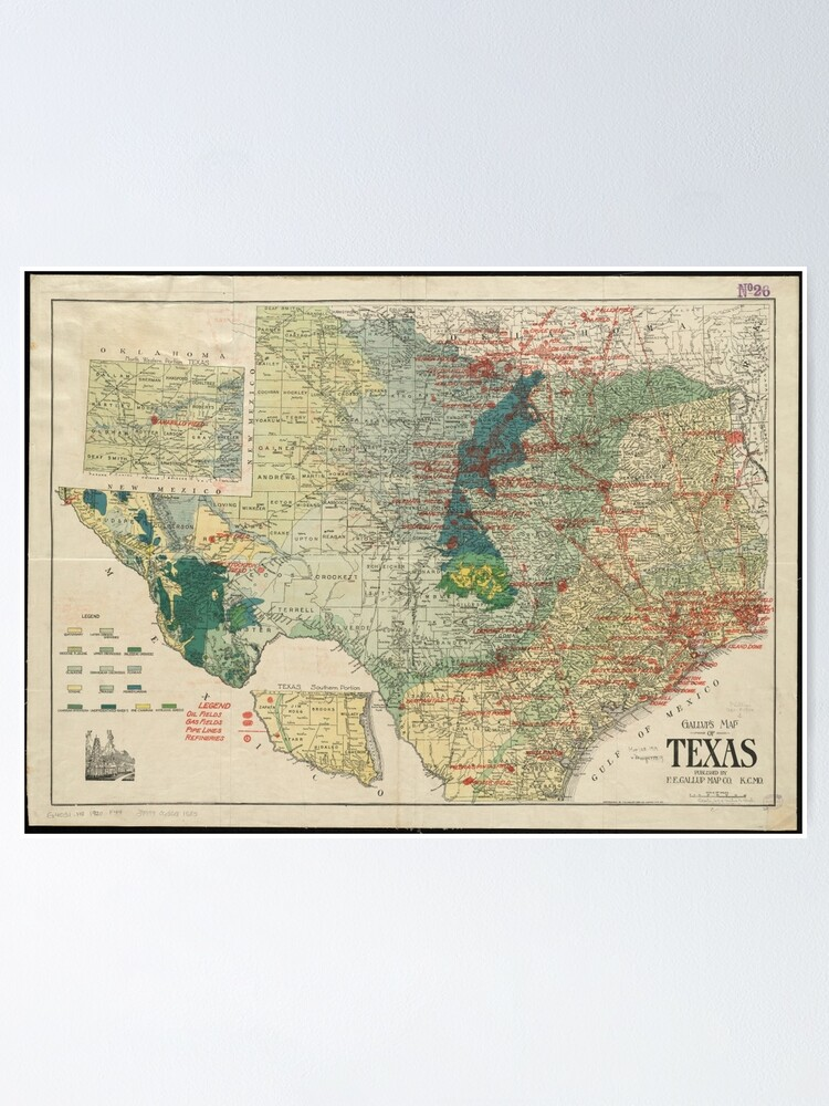 Vintage Map of The Texas Oil and Gas Fields (1920)   Poster