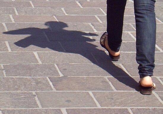 Winged shadow, Bolzano/Bozen, Italy by L Lee McIntyre