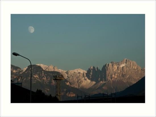 Moon over the Dolomites, Bolzano/Bozen, Italy by L Lee McIntyre
