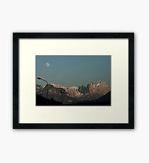 Moon over the Dolomites, Bolzano/Bozen, Italy Framed Print