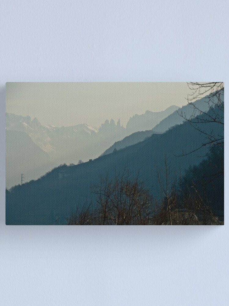 Alternate view of Dolomites and foreground hills, view from Bolzano/Bozen, Italy Canvas Print