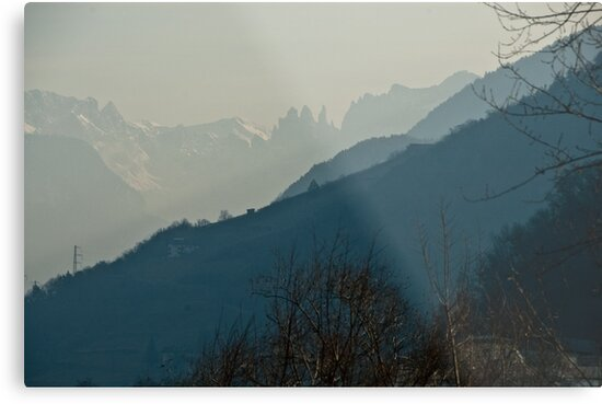 Dolomites and foreground hills, view from Bolzano/Bozen, Italy by L Lee McIntyre