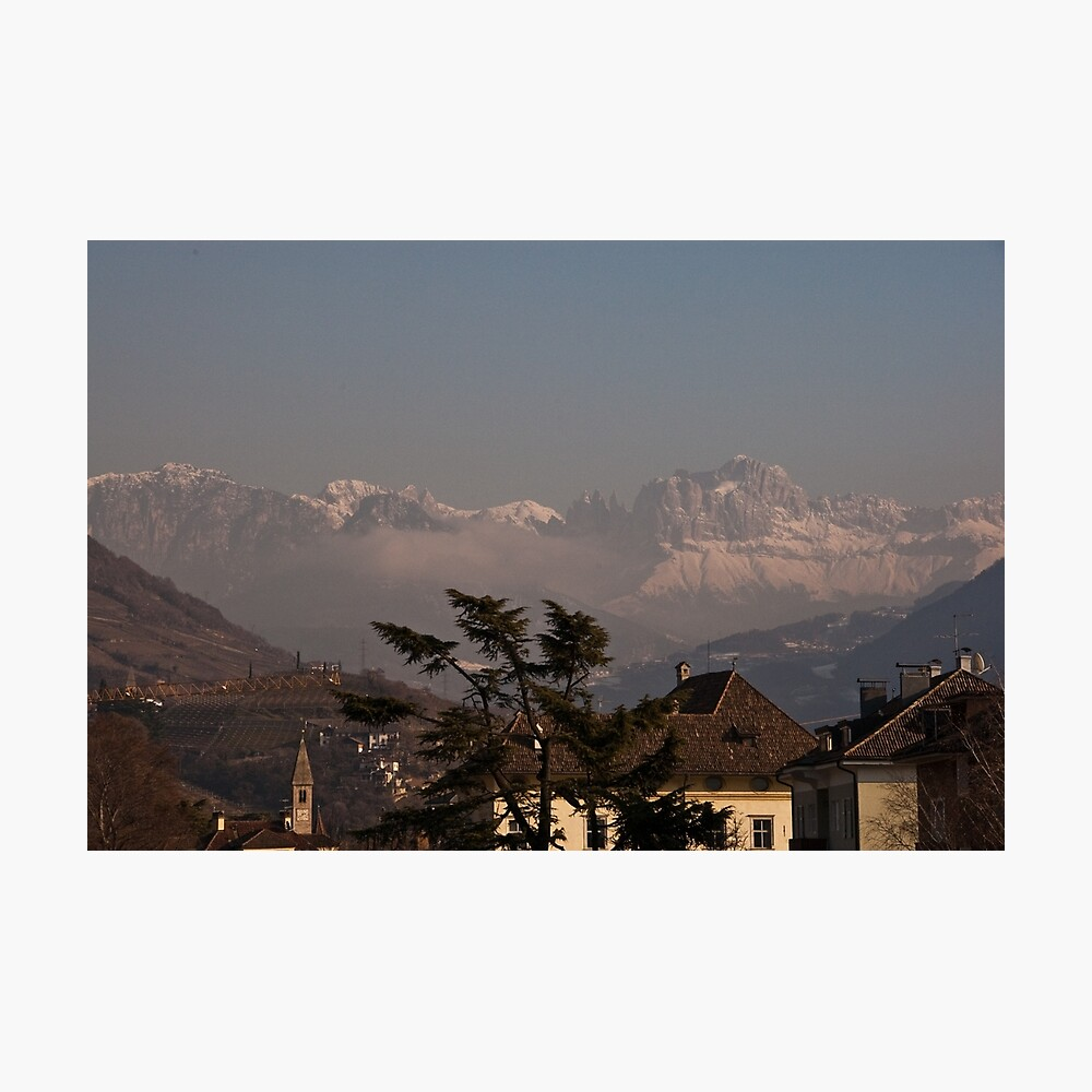 Dolomites and low-hanging clouds, view from Bolzano/Bozen, Italy Photographic Print