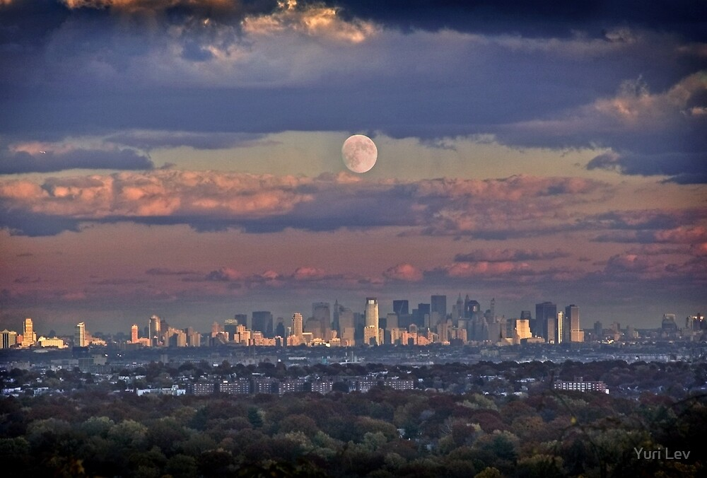 Full Moon Over New York, USA by Yuri Lev