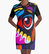 Bird Ornament Graphic T-Shirt Dress