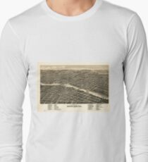 Vintage Map of Rockford Illinois (1880) Long Sleeve T-Shirt