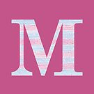 Letter M Blue And Pink Dots And Dashes Monogram Initial by theartofvikki