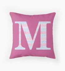 Letter M Blue And Pink Dots And Dashes Monogram Initial Throw Pillow