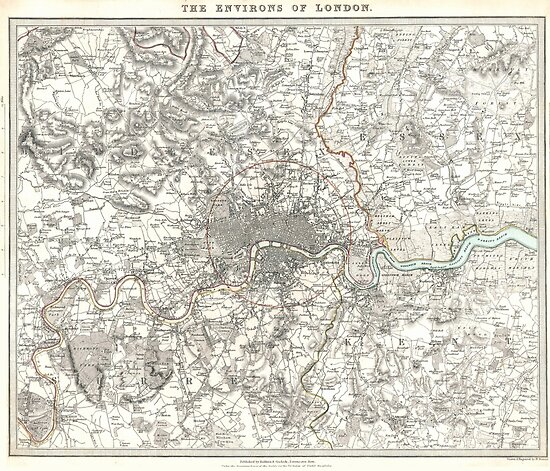 Map Of England Vintage.Vintage Map Of London England 1832 Posters By Bravuramedia