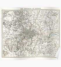 Vintage Map of London England (1832) Poster