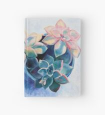 Pastel Succulents - an oil painting on canvas Hardcover Journal