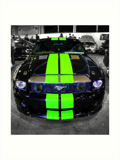 Black Mustang with Green Stripes by Vicki Spindler (VHS Photography)