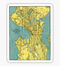 Vintage Map of Seattle Washington (1914) Sticker