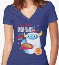 Abominable Snowflakes Women's Fitted V-Neck T-Shirt