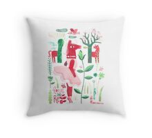 Horses are red Throw Pillow
