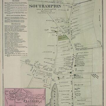Mapa vintage de Southampton Nueva York (1873) de BravuraMedia