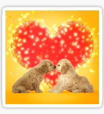 Kissing Cockerpoo puppies and red love heart Sticker