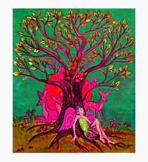 Green and Pink Nature Tree Photographic Print