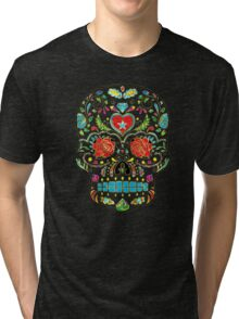 Colorful Floral Sugar Skull Glitter And Gold 2 Tri-blend T-Shirt