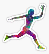 Woman runner running jumping Sticker
