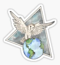 Owl with Earth  Sticker