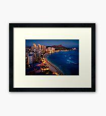 Waikiki Beach and Honolulu Skyline, Hawaii Framed Print