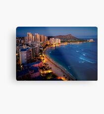 Lámina metálica Waikiki Beach y Honolulu Skyline, Hawaii