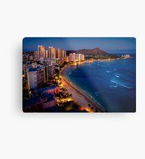Waikiki Beach und Honolulu Skyline, Hawaii Metallbild