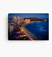 Lienzo Waikiki Beach y Honolulu Skyline, Hawaii
